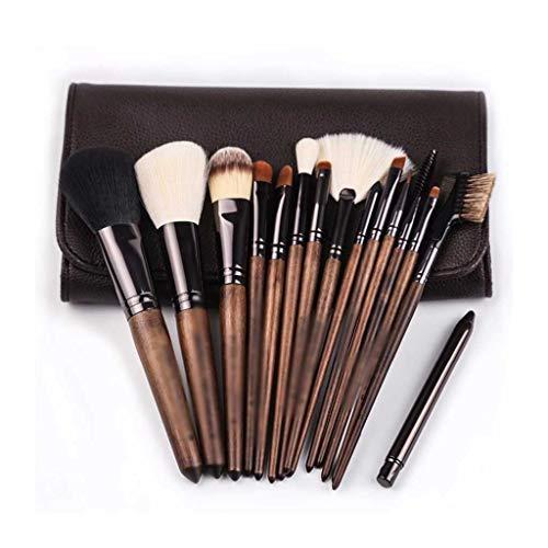 XZJJZ 15 piezas de madera de nogal maquillaje cepillos conjunto de cepillos de base cosméticos cepillo kit de herramientas cejas delineador de ojos sombra de ojos corrector bolsa