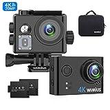 Action Cam 4K WiFi Action Kamera 40M Unterwasserkamera mit 2 Batterie, Transporttasche und...