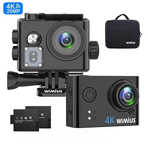 WiMiUS Action Cam 4K WiFi Action Kamera 40M Unterwasserkamera(2 Batterie, Transporttasche und kostenlose Accessoires)