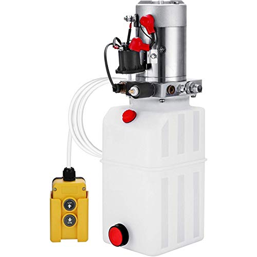Mophorn Hydraulic Power Unit 8 Quart Hydraulic Pump Single Acting Hydraulic Pump for Dump Trailer Car Lifting 12V DC (Plastic, Single Acting Hydraulic Power Unit)
