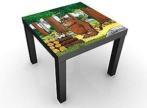 Apalis Tavolino Design Gruffalo - Meets The Mouse 55x55x45cm, Tischfarbe:Schwarz;Größe:55 x 55 x 45cm