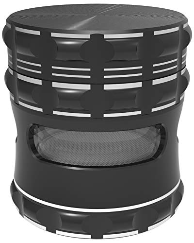 """2.5"""" Spice Herb Grinder,Premium Aluminum Alloy with Clear Side Windows,Spice Grinder with High-Capacity,Diamond Black"""