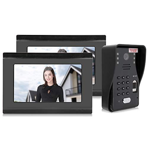 Videoportero, Timbre, Sistema de intercomunicación, Sistema de Entrada a la Puerta con 7 Pulgadas, 2 Pantallas, 1 cámara para la casa(Enchufe de la UE)