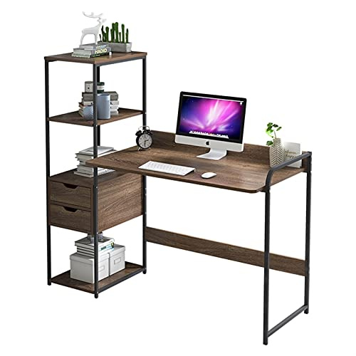 LICHUAN Escritorio de ordenador con estante de almacenamiento, escritorio de estudio con cajón y estantes, moderno estaciones de trabajo estudio mesa de escritura para dormitorio y oficina