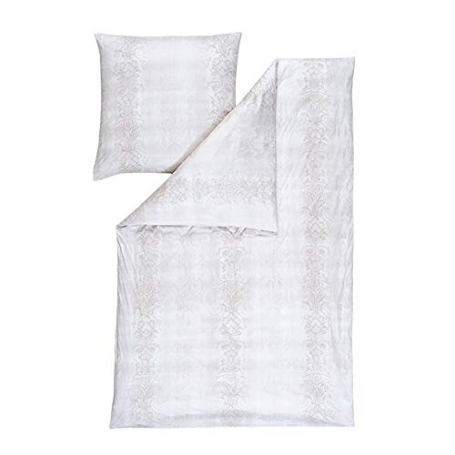 ESTELLA Bettwäsche Elise | Creme | 155x220 + 80x80 cm | bügelfreie Interlock-Jersey-Qualität | pflegeleicht und trocknerfest | ideale Vier-Jahreszeiten-Bettwäsche | 100% Baumwolle