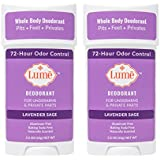 Lume Natural Deodorant - Underarms and Private Parts - Aluminum Free, Baking Soda Free, Hypoallergenic, and Safe For Sensitive Skin - 2.2 Ounce Stick Two-Pack (Lavender Sage)