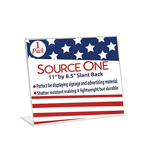 SOURCEONE.ORG 11 x 8.5 Slant Back Clear Acrylic Sign Holder Premium Landscape Ad Frame