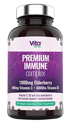 Immune System Booster – 7-in-1 Immune Support - Vitamin D High Strength, Vit C, Elderberry, Zinc, Garlic, Ginger, Grape Seed Extract Vegetarian Supplements – Multivitamins – Minerals & Herbal Extracts