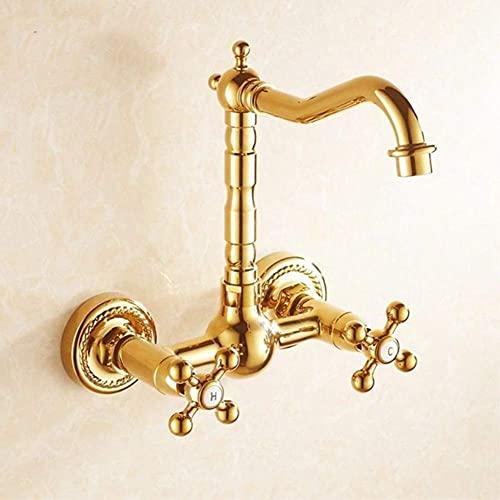 DXDUI Rubinetti da Cucina rubinetti in Ottone rubinetti a Parete a 360 Gradi rotanti per cucine Gru miglia Calda e Fredda