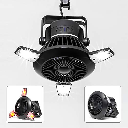 Busypiggy Solar Camping Fan with LED Lantern, Portable Tent Fan with Hanging Hook, Rechargeable USB Desk Fan for Home, Office, Tent, Car, Emergency Outages (4000mAh, 40 Hours Max Working Time)