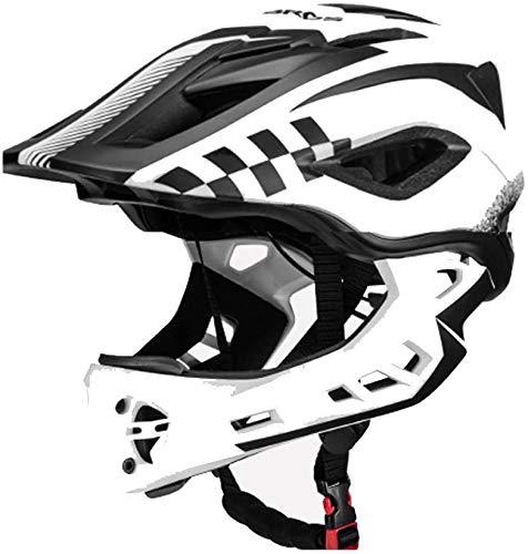 ROCKBROS Fahrrad Kinderhelm Integralhelm Downhill Helm S 48-53cm M 53-58cm für Kinder und Jugend mit Abnehmbare Kinnschutz Integriert EPS/PC Stoßfest Anti-Schweiß Schwarz Weiß S