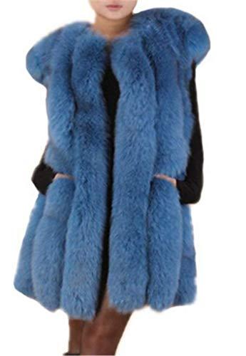 Saoirse Chaleco de invierno para mujer, 100% piel de zorro, abrigo de invierno azul XXX-Large