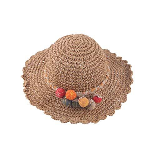 Chapeau de paille pour filles Décoration citrouille Protection contre le soleil Chapeau réglable Chapeau tissé à larges bords pour plage en plein air (kaki)