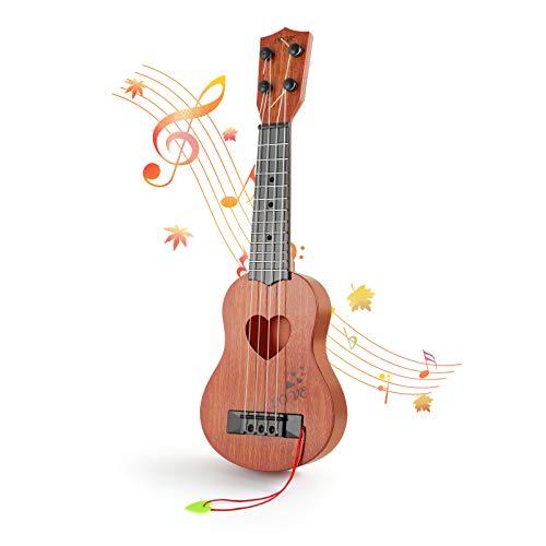 Foriston Kids Guitar Musical Toy Ukulele Classical Instrument,Guitar for Beginners 4 Strings Ukulele (Brown-Love)
