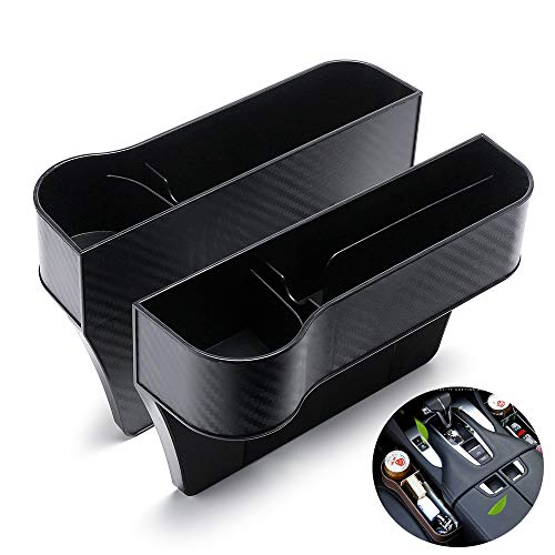 MY Car Seat Gap Filler 2 Pack, Premium Carbon Fibre Black No Deformation, Multifunctional with Cup Holder,Console Side Pocket for Cellphone,Wallet, Various Cards