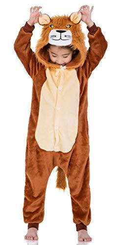 FunnyCos Unisex Kinder Tier-Einteiler mit Kapuze, superweich, Flanell-Kostüm , löwe 100
