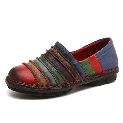 Socofy Slip-on Loafer, Women's Rainbow Leather Casual Loafer Flat Walking Shoes Driving Loafers Moccasin Slippers Red 7