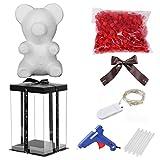 25cm Rose Bear Hecho a mano DIY Rose Flower Bear con caja de regalo y lámpara luminosa, Preservada para siempre Flor de oso artificial para Navidad Día de San Valentín, Novias, Cumpleaños, Bodas, Día