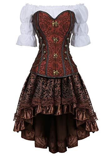 Grebrafan Steampunk Taillen Corsage Kostüm mit asymmetrischer Spitzenrock und Bluse - für Karneval Fasching Halloween (EUR(48-50) 6XL, Braun)