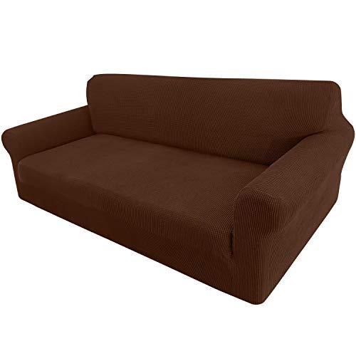 Granbest Funda de sofá extensible Jacquard 1 pieza funda de sofá de 3 plazas con reposabrazos para sofá (3 plazas), color marrón