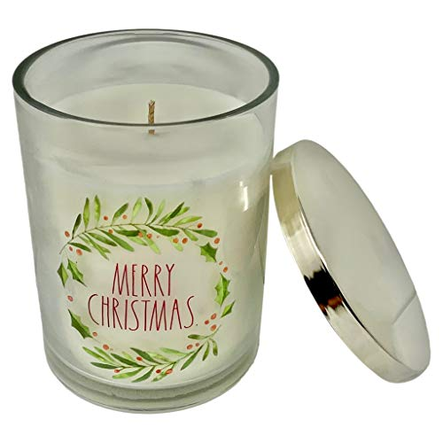 RAE DUNN MERRY CHRISTMAS CANDLE - Balsam Fir Scent - Merry Christmas In LL Font with Beautiful Green Holly Leaves and Red Holly Berries. Perfect for bringing the Spirt of Christmas into your home