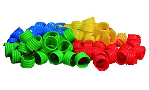 GEFLÜGELRINGE aus Kunststoff (Durchm. 18 mm) verschiedene Farben (18 mm / je 20 Stk. in blau, gelb, grün und rot)