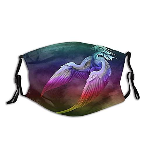 Máscara facial Dragon Phoenix pasamontañas, lavable, reutilizable, con 2 filtros, para adultos, hombres, mujeres y adolescentes