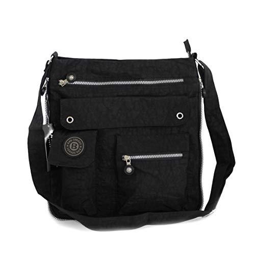 Bag Street Umhängetasche Schultertasche Tasche Messengertasche Stofftasche Crossbag Wandertasche (Schwarz) präsentiert von ZMOKA®