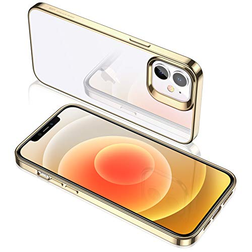 ESR Klar Silikon Hülle Kompatibel mit iPhone 12 Mini Transparente Polymer Hülle Goldener Rahmen