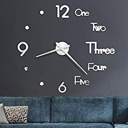 Riforla Large DIY Wall Clock, 3D Mirror Surface Stickers Frameless Modern Design Large Watch Roman Numerals Clock Silent Home Decor for Living Room Bedroom/Office/School Number Clock Decorations Gift