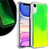 VenSen Liquid Fluorescent Case for Apple iPhone XR 6.1 INCH Soft TPU Luxury Glow in The Darkness Noctiluncen Luminous Neon Sand case iPhoneXR (Green)