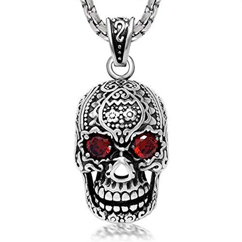 TWWTHX Collar gótico Punk Modyle Cool Punk Rock Cubic Zirconia Eyes Retro Skull Collares con Colgante para Hombres