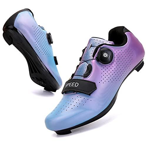 WYUKN Zapatillas de Ciclismo de Carretera SPD, Zapatillas de Ciclismo con Cordones de Zapatos compatibles con SPD Look Delta Cycle Riding Cleat Peloton,colorfulblue-39EU