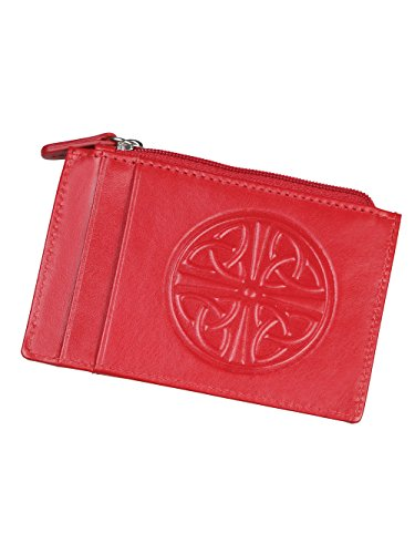 Women's Celtic Knot ID Wallet - Leather - RFID Blocking - 4.5' x 3' - Red