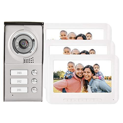 Videoportero con Cable Intercomunicador, Pantalla TFT-LCD en Color de 7 Pulgadas Kit de Timbre Digital HD 4 Hilos 3 Monitores Sistema Teléfono con Cámara Visión Nocturna para Seguridad en El Hogar(UE)