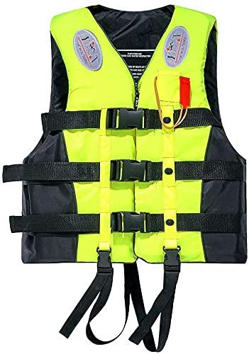 Chaleco Salvavidas Adulto, Chaleco de flotabilidad 50-N, para Snorkel, Kayak, canotaje, Chaleco Salvavidas Unisex Chaleco Salvavidas sólido para niños, Mujeres, Hombres,Amarillo,XL
