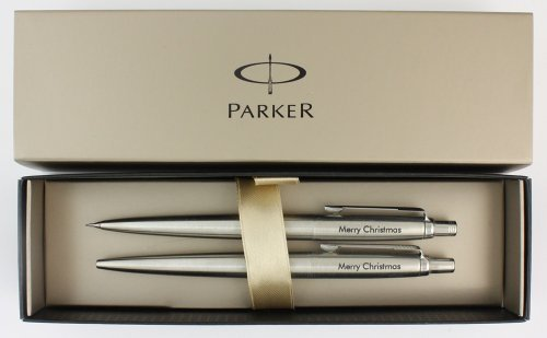 Parker Jotter Set aus Kugelschreiber und Bleistift, aus Edelstahl, personalisiertes Geschenk, mit Gravur