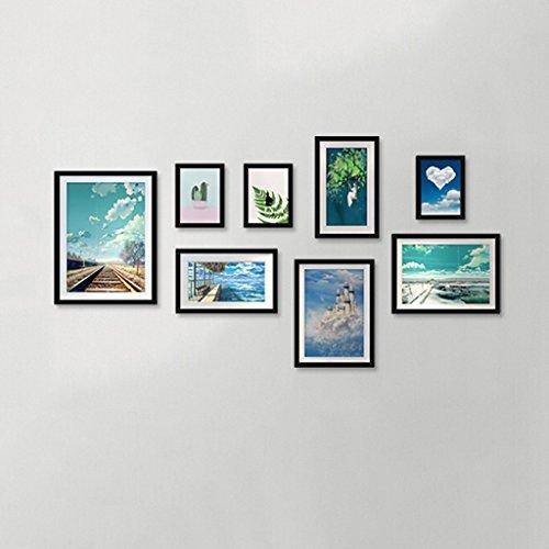 Mur en bois de photo de cadre, cadre simple moderne créatif de salle de séjour/restaurant de cadre de photo/combinaison de mur accrochant la décoration à la maison (Couleur : B)