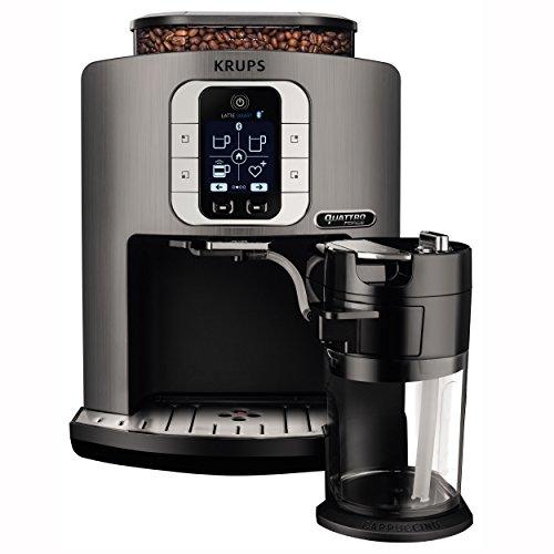 Krups EA860E Kaffeevollautomat One-Touch-Cappuccino Latte Smart, App gesteuert, Milchbehälter, 1,8 L, 15 bar, metall/schwarz