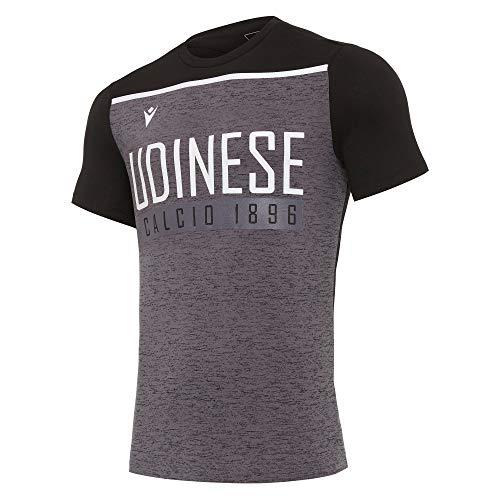 Macron UDI Merch Ca T-Shirt Cotone Uomo NER/BIA Mm SR, Ufficiale Udinese Calcio 2020/21, Grigio, XL