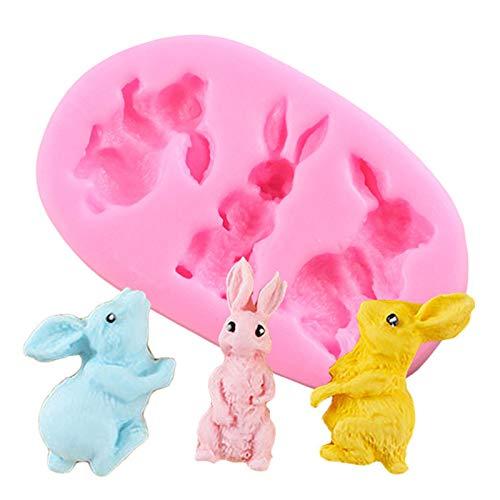 3D Osterhase Silikonform - 3D Kaninchen Fondantform - Hase Silikonformen Fondant - Silikon Backform - Silikon Tier Eiswürfelform - DIY Seifenform Kerzenform für Schokolade, Gummi, Kuchen Dekor