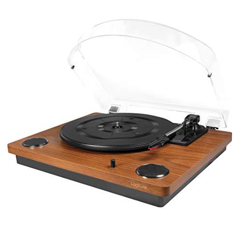 LogiLink UA0340 - Vinyl platenspeler 3 snelheden (33, 45 + 78 omw/min) met stofhoes met geïntegreerde luidspreker en converter (MP3)