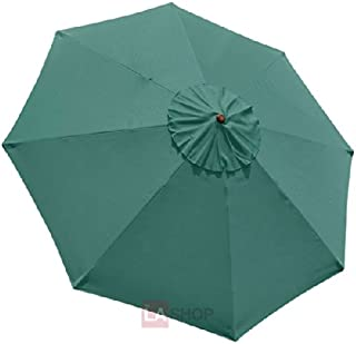 Large 9-foot/ 9' Ft Anti-fade Green Polyester 8-rib Umbrella Top Replacement Canopy UV Sun Protect Water Resistant for Outdoor Patio Cover Furniture Beach Market