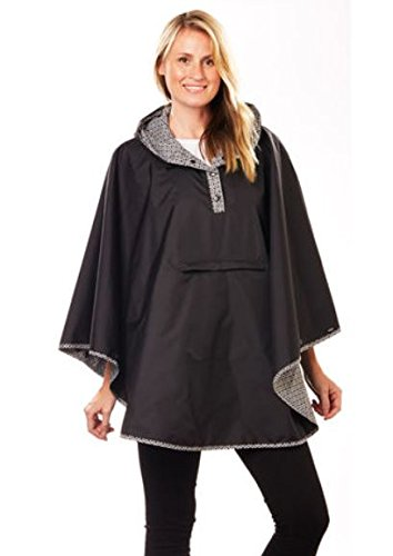 Totes Reversible Rain Poncho Two Looks in One, Women`s Size, Style# 0RW2 E22, Black/Black & White with Red Dots
