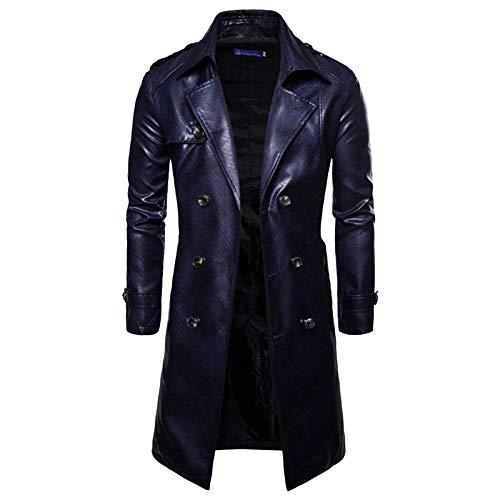 Moda para Hombre Traje De Gabardina Cuero PU Larga Mode De Marca Chaquetas Cruzadas Abrigo Vintage Abrigo De Manga Larga Abrigo Azul Marino Busto110Cm (Color : Navy, Size : M/Bust110Cm)