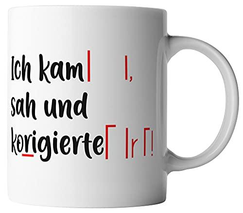 vanVerden Tasse - Ich kam sah und korrigierte - beidseitig Bedruckt - Geschenk Idee Kaffeetassen, Tassenfarbe:Weiß