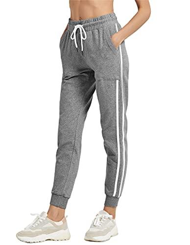 SPECIALMAGIC Pantalones de Deporte Mujer Algodón Atlético Jogger 2 Rayas Cordón Pantalones de chándal de Entrenamiento Bolsillos Cuero Gris XL