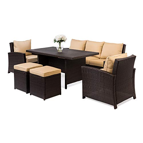 Best Choice Products 6-Piece Modular Patio Wicker Dining Sofa Set, Outdoor Furniture w/ 7 Seats, Cushions - Brown