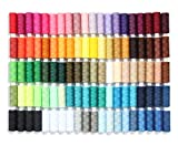 SEWING AID Set of 100 All Purpose Polyester Sewing Threads, 250 Yards Per Spool in Assorted Thread Colors, Extra Spools of Black and White, for Hand Stitching, Machine, Quilting and Crafts