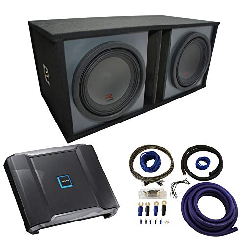 Universal Car Stereo Paintable Ported Dual 12' Alpine Type R R-W12D2 Sub Box Enclosure with R-A75M Amplifier & 0GA Amp Kit